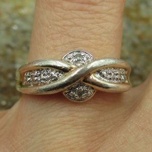 Vintage Size 8 Sterling Two Tone Diamond Ring